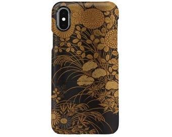 """iPhone Case """"Shiomi Masanari Case (Inrō) with Design of Autumn Flowers""""  iPhone5/5s/SE/6/6s/6Plus/6sPlus/7/7Plus/8/8Plus/X"""
