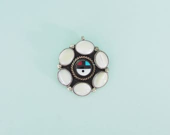 Zuni Sun Face Pendant with Mother of Pearl
