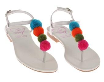 Multicolor Low Heel Thong Sandal