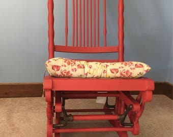 Vintage red sewing rocker painted with chalk paint. New cushion from World Market! So cute!