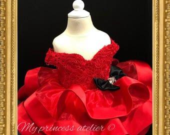 Girl red Christmas dress, red flower girl dress,girl red birthday dress, red pageant dress, baby girl red holiday dress, red princess dress,