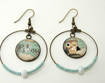 """Earrings Cabochon """"OWL"""" blue brown white"""