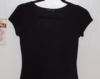 Small Open Neck Black Shirt