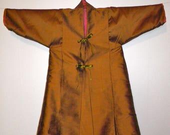 Long reversible silk christening jacket