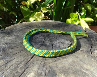 Friendship Bracelet for ankle (blue, green, yellow)