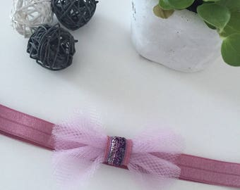 """Baby - child headband """"rose and tulle"""" at the top for Christmas, new year's Eve, birth gift, baptism"""
