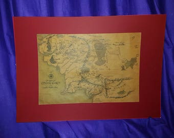 Map of Middle Earth mounted Poster
