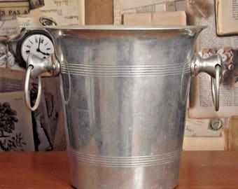 Vintage French Stylish Aluminium Champagne Bucket - French Vintage. Ice Bucket. Champagne Bucket. Barware.
