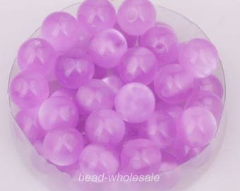 set of 5 acrylic beads - purple - 8 mm - color cat eye