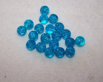 cracked 8 mm turquoise glass bead