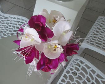 Bridal bouquet white and purple rhinestones and ostrich feathers.