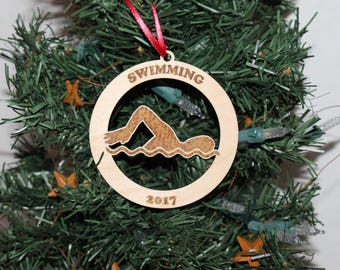 wooden swim team ornament