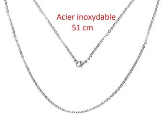 Chain necklace 51 cm silver color stainless steel