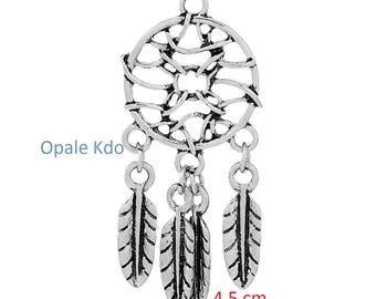 Pendant feather dream catcher of dreams 46.0 mm x 21.0 mm antiqued silver metal