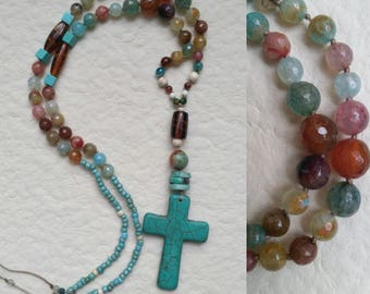 Simple turquoise cross necklace