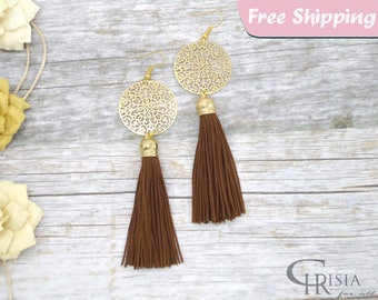 Gold Tassel Earrings, Tassel Earrings, Gold Earrings, Statement Earrings, Long tassel earrings, Long earrings, Dangle earrings, Boho