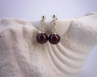 Women earrings, purple glass Lampwork beads 925 sterling silver