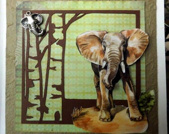 card 3D elephant on a tree Brown background