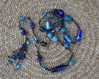Necklace - belt. Beads from Venice. Blue glass.