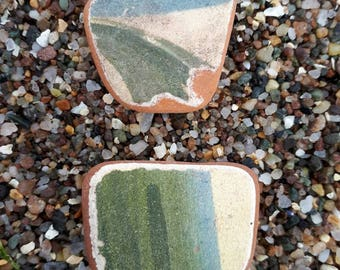 Sea worn clay pottery pieces,smooth all over,perfect for pendants,genuine surf tumbled Scottish beach finds.
