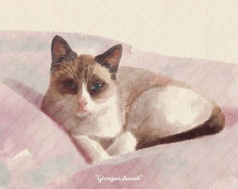 Pet Portrait. Digital File. Turn your favourite pics in watercolor painting.