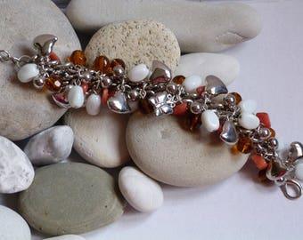 BRACELET / AMBER BEADS BRACELET / WHITE / BROWN - ORANGE