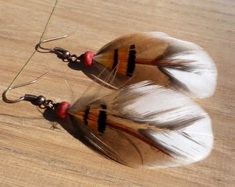 light, thousand flowers and Golden Pheasant hen feather earrings