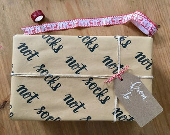 Christmas wrapping paper, Hand stamped paper, Funny gift wrapping, Kraft paper, Holiday gift wrap, Festive wrapping