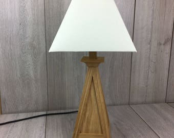 lamp, wooden lamp, oak lamp, table lamp, wooden table lamp, bedside table lamp, office lamp