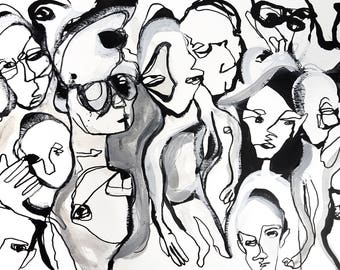 Black and white party ink and wash