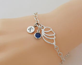 Pesonalized Angel Wing Bracelet with Initial and Birthstone Charms, Birthday Gift, Wing Jewellery