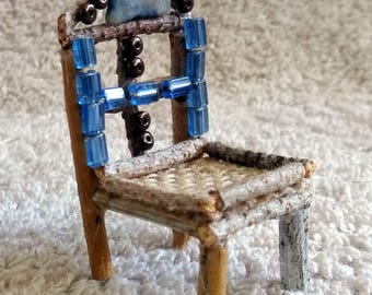 Fairy Miniature Chair With A Burlap Seat, Blue Crystals and Small Brown Beads