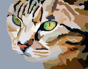 Personalized Digital Painting of Cat Photo