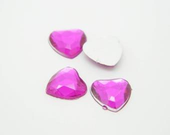 12 x rhinestone pink heart 1 cm (l596)