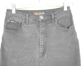 Vintage Route 66 Faded Grey Women's High Waist Jeans