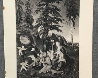 Cranach. Rest on the flight into egypt. 1920's antique print