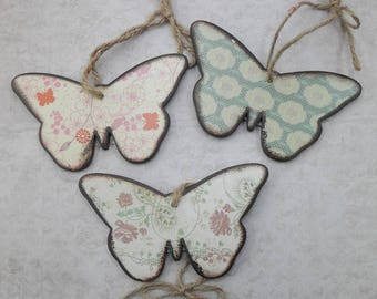 Wooden Decoupaged Butterfly Shapes, Set of 3 Hangers or Craft Blanks,  12cm