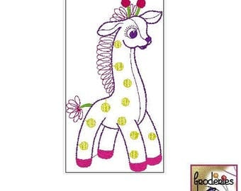 Embroidery file format: cute giraffe