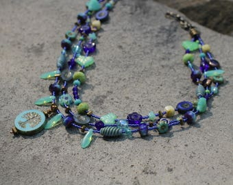 Czech Glass Beaded 3 Strand Necklace with Tree of Life Pendant