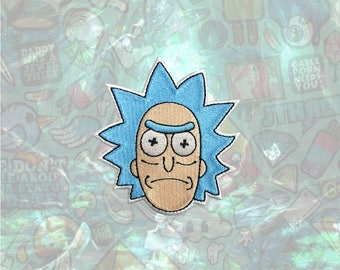Rick and Morty Patch Rick Sanchez Cartoon Face Patch Iron on Patch Sew On Patches