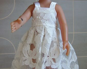 White Princess lace macrame corolle baby doll dress