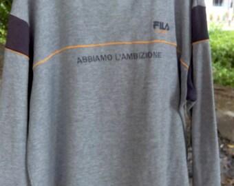 Fila Abiamo Mens Grey Long Sleeve Shirt Size Large Rare