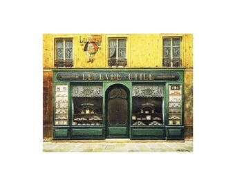 """Vintage greeting card or poster (1985) """"Storefront L.Utile - read"""" Photo of a painting on cardboard paper"""