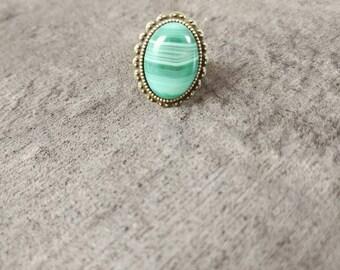 Natural Aventurine gemstone ring and adjustable nickel free silver backing