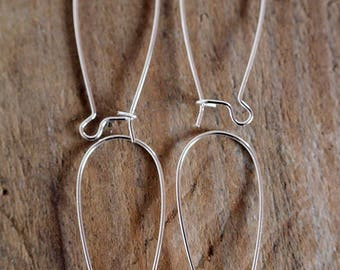 long earrings sleepers 33 mm by 10 silver metal