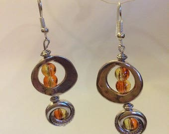 Earrings Silver earrings with Crackle glass beads orange color