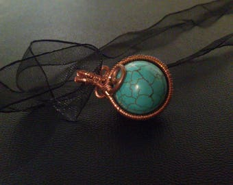 vintage turquoise round and copper pendant