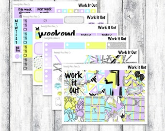 Work It Out // Weekly Sticker Kit // Erin Condren Vertical