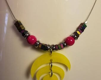 Handmade Geometric Beaded Necklace with Shrink Film Pendant