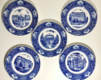 Wedgwood New York University NYU 100th Anniversary Blue Decorative Wall Collector Plates from 1932